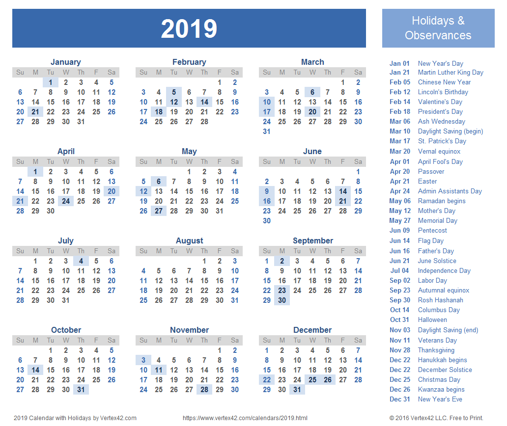 2019 Calendar Templates And Images Calendar Of 2019 With Holidays
