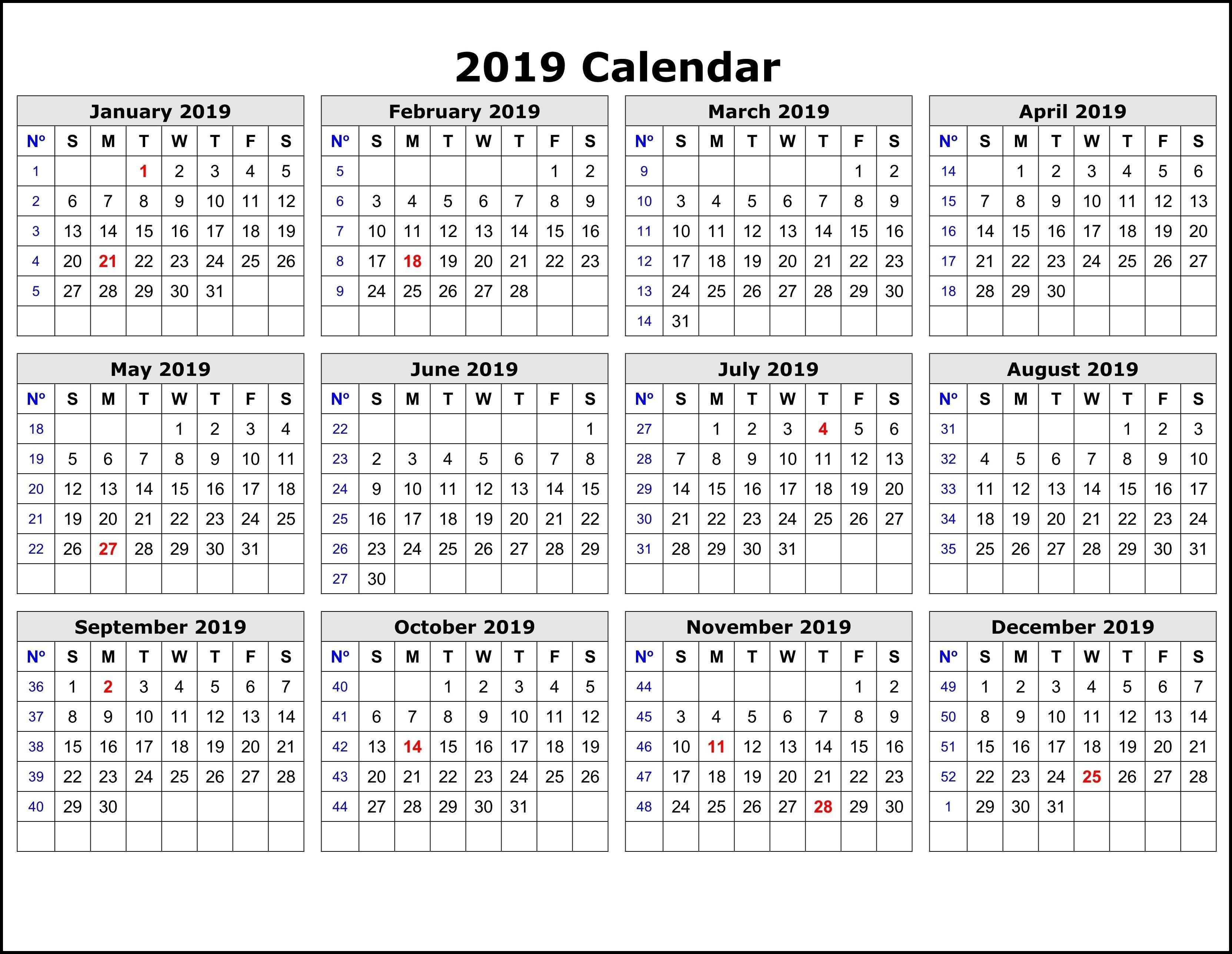2019 Calendar Templateweek   Exercise   Printable Calendar Pages Calendar Week 40 2019