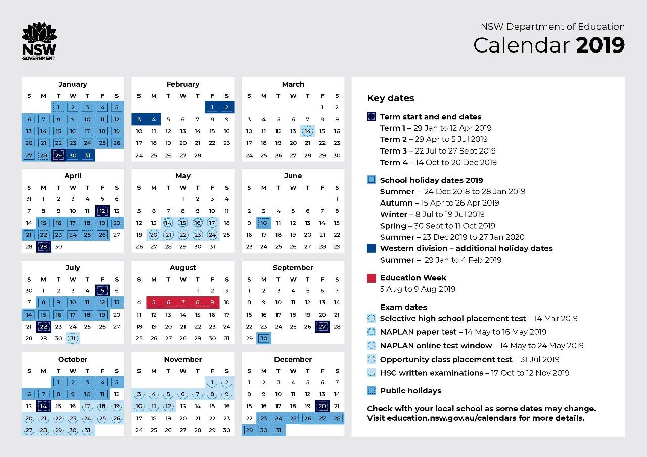 2019 Calendar – Toronto High School Calendar 2019 Doe