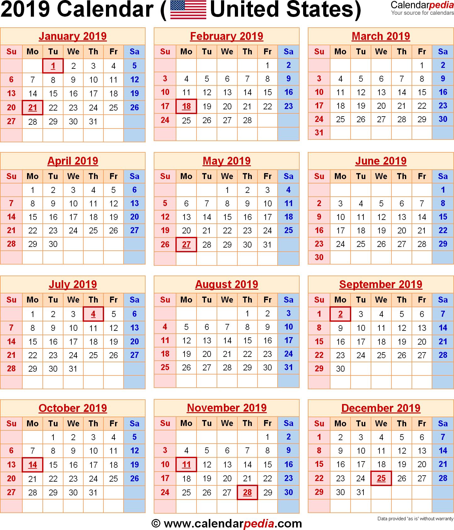 2019 Calendar United States | Us Federal Holidays | 2019 Calendar Us Calendar 2019 Us