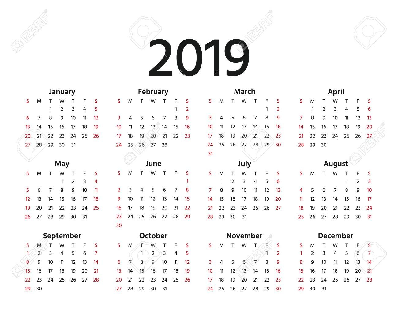 2019 Calendar. Vector. Week Starts Sunday In Minimal Simple Style Calendar 2019 Weeks