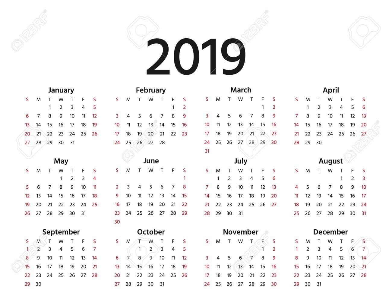 2019 Calendar. Vector. Week Starts Sunday In Minimal Simple Style Calendar Week 30 2019