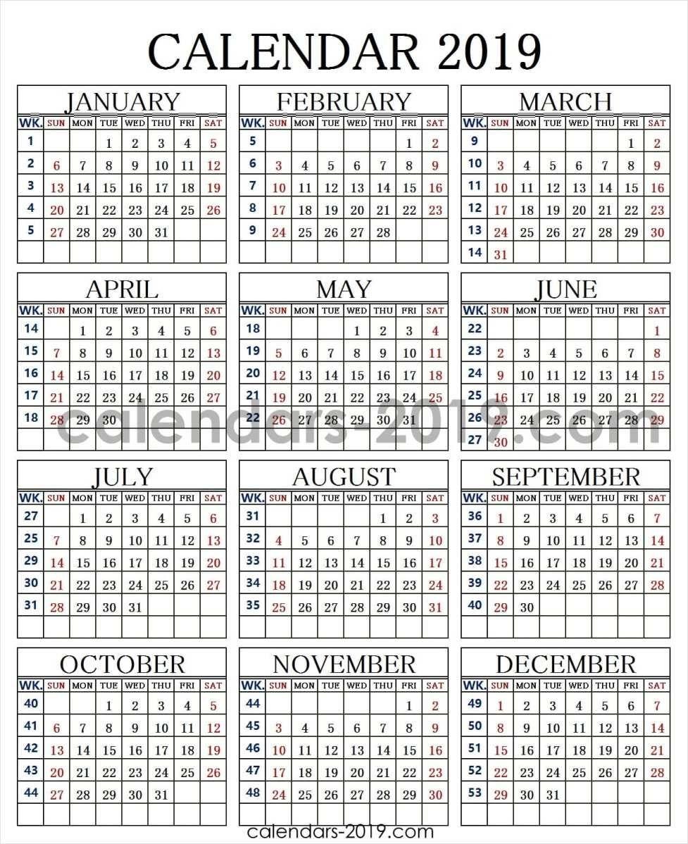 2019 Calendar Week Numbers | 2019 Yearly Calendar | Weekly Calendar Calendar Week 42 2019