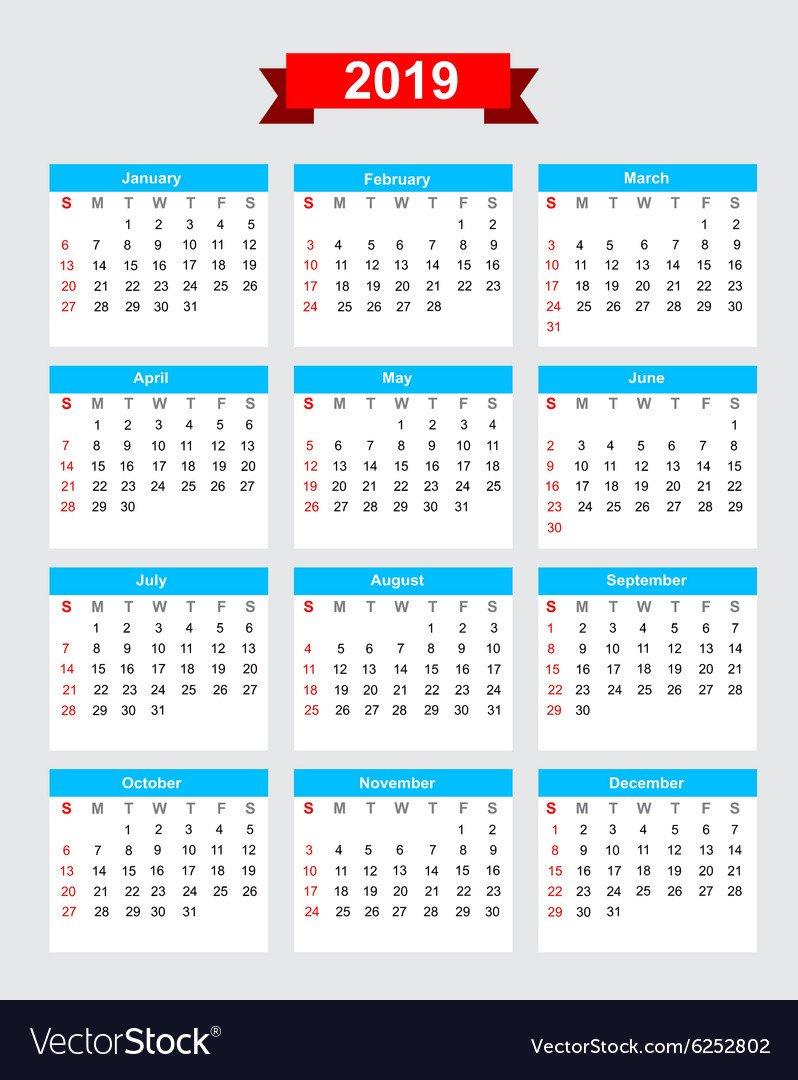 2019 Calendar Week Start Sunday Royalty Free Vector Image Calendar 2019