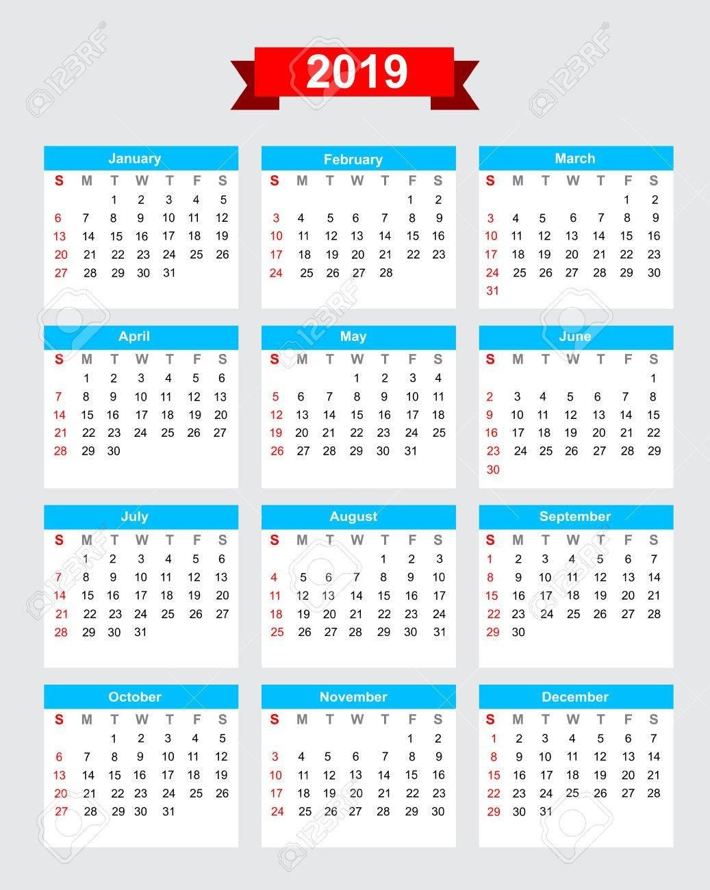 2019 Calendar Week Start Sunday Vector Royalty Free Cliparts Calendar Week 9 2019