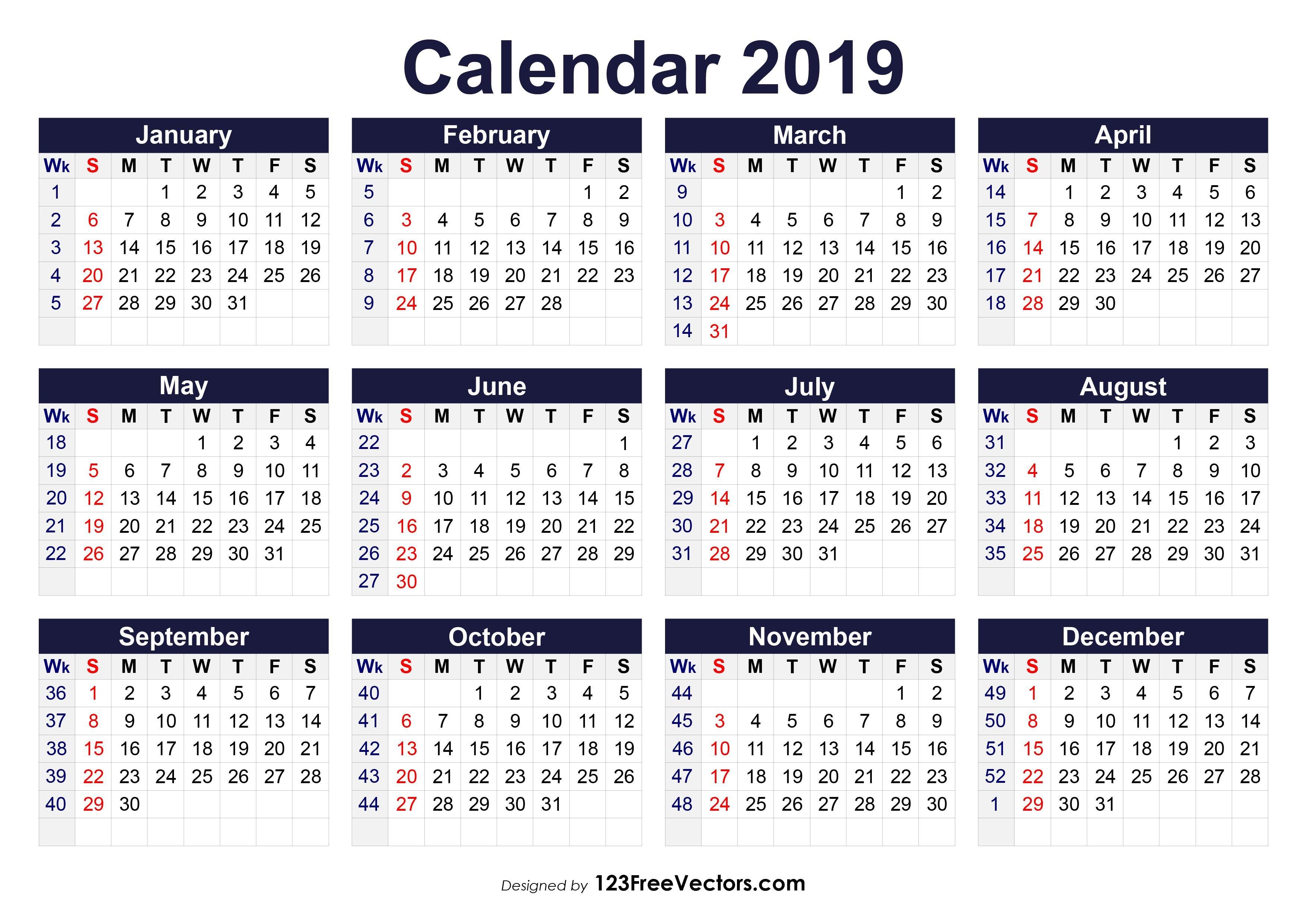 2019 Calendar Weeks Per Month – Kalender Plan Calendar 2019 Numbered Weeks
