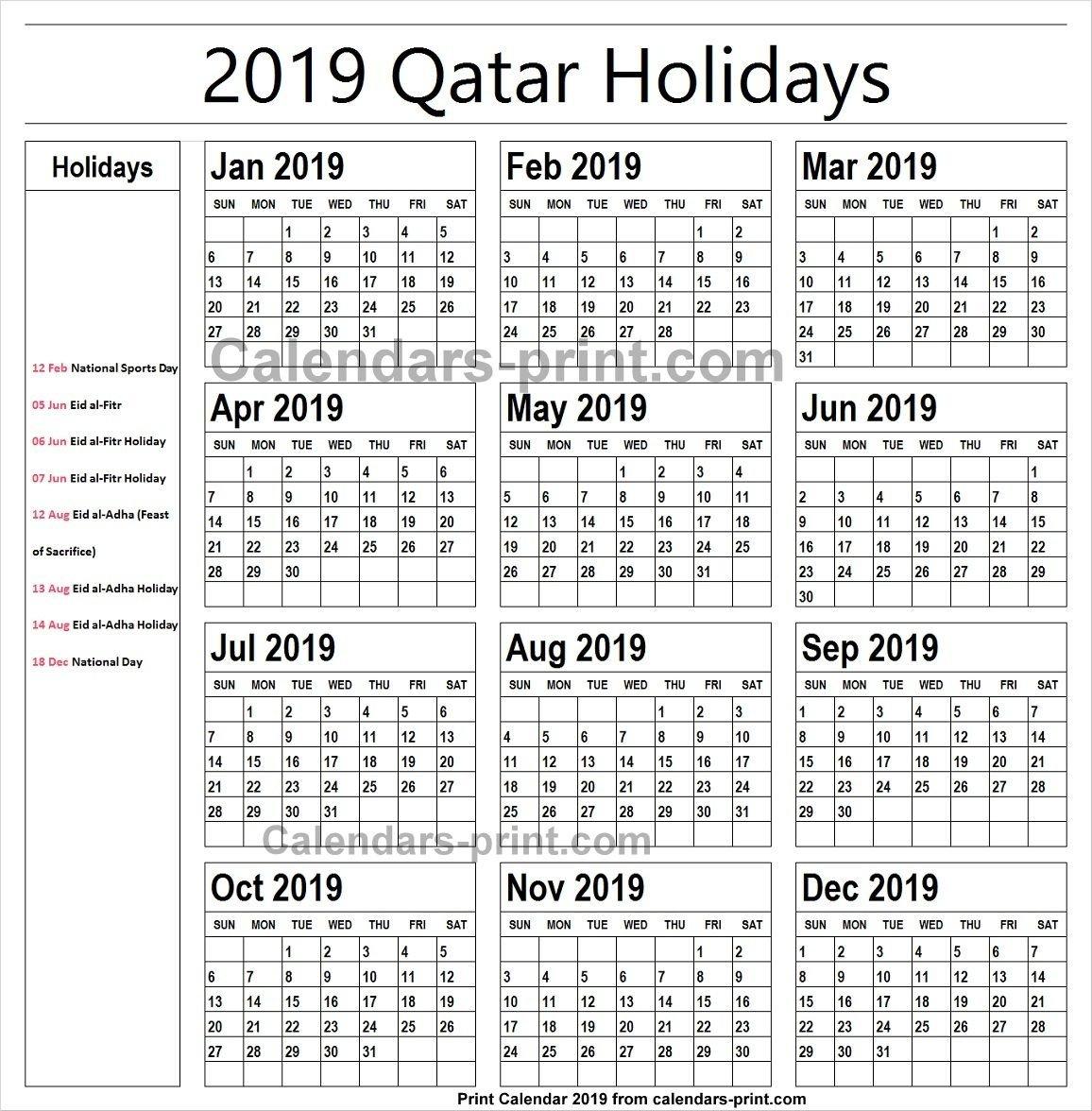 2019 Calendar With Holidays Qatar Printable | Holidays Calendar 2019 Calendar 2019 Qatar
