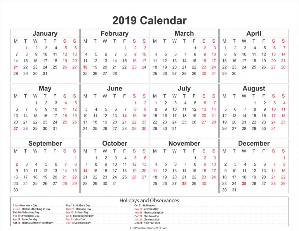2019 Calendar With Holidays - Us, Uk, Australia, Canada - Calendar Calendar 2019 Presidents Day