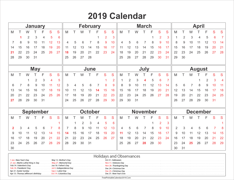 2019 Calendar With Holidays – Us, Uk, Australia, Canada – Calendar U.s. Holiday Calendar 2019