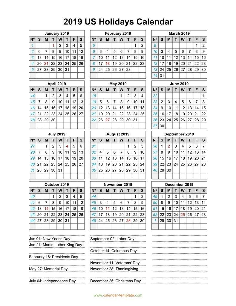 2019 Calendar With Us Holidays Calendar 2019 Us