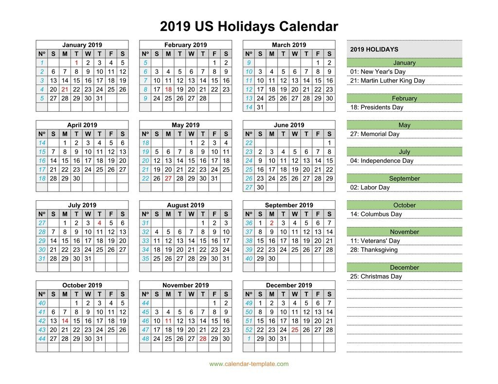 2019 Calendar With Us Holidays Calendar 2019 Us Holidays