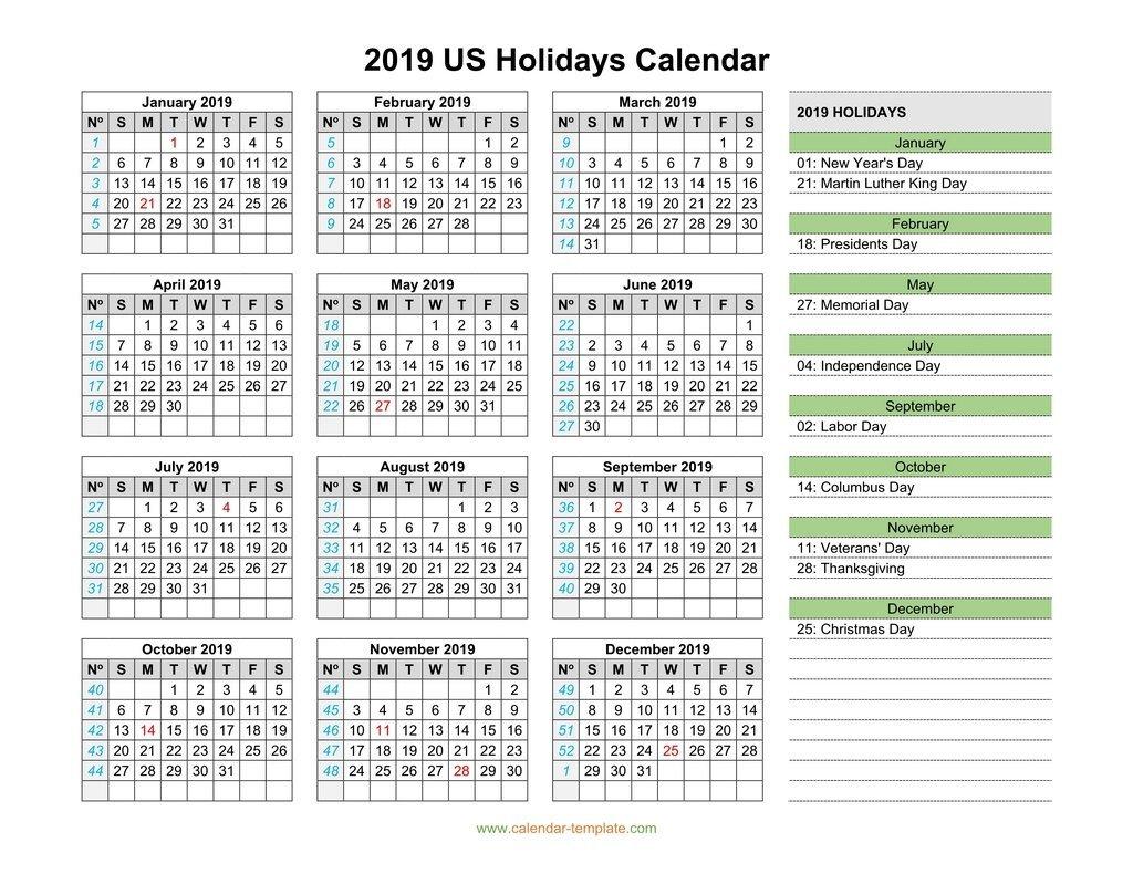 2019 Calendar With Us Holidays Calendar 2019 With Federal Holidays
