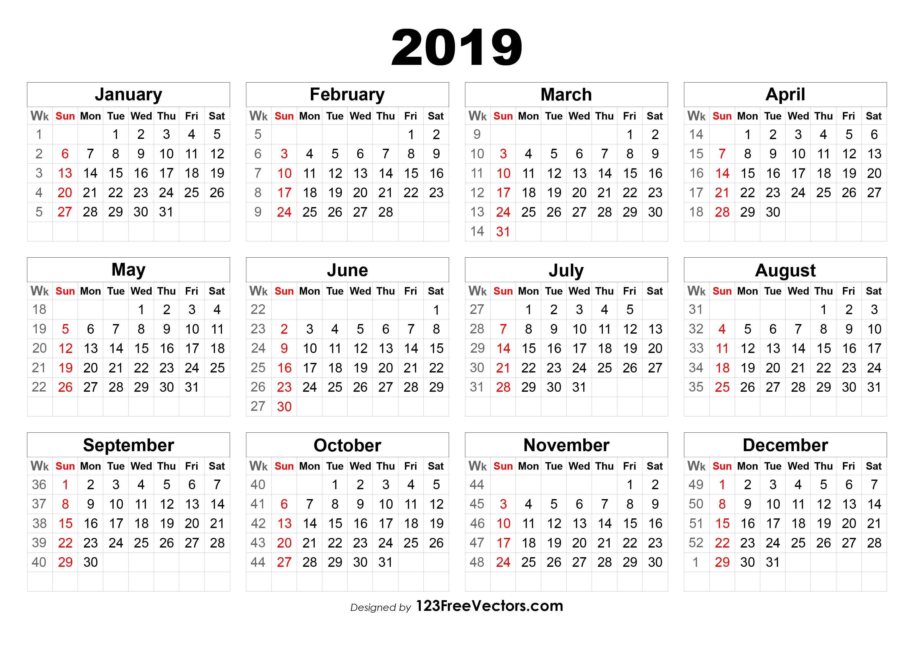 2019 Calendar With Week Numbers 2019 Calendar 52 Weeks