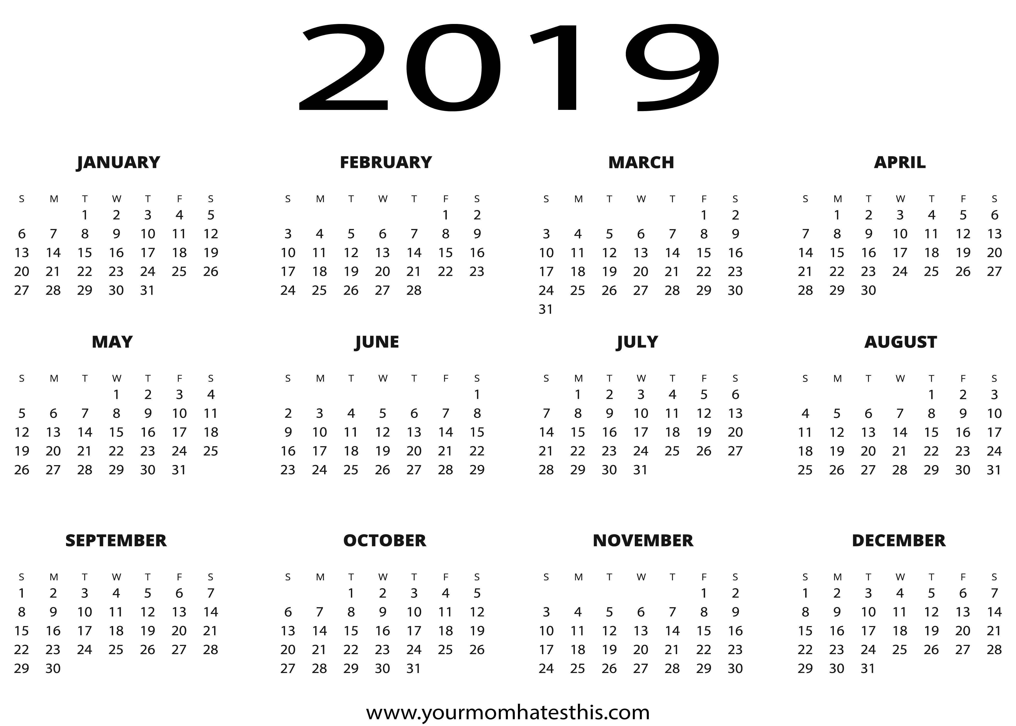 2019 Calendars Download Pdf Templates Calendar 2019 Full Year