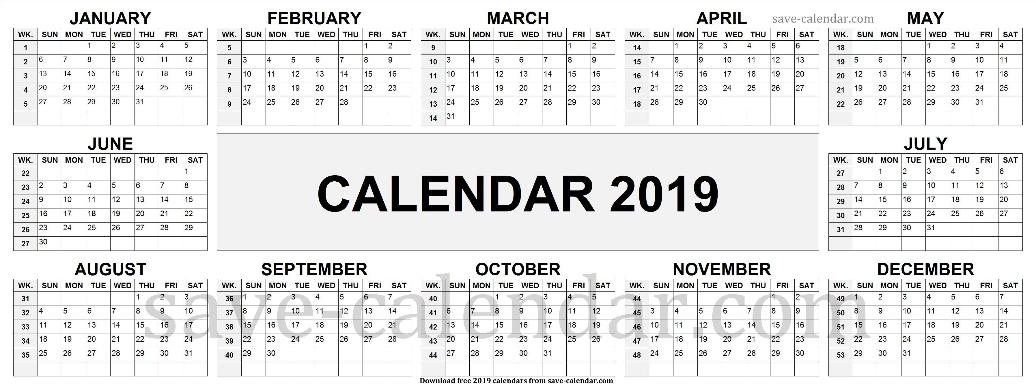 2019 Calendarweek Numbers | Calendar 2019 With Week Numbers Calendar 2019 Weeks
