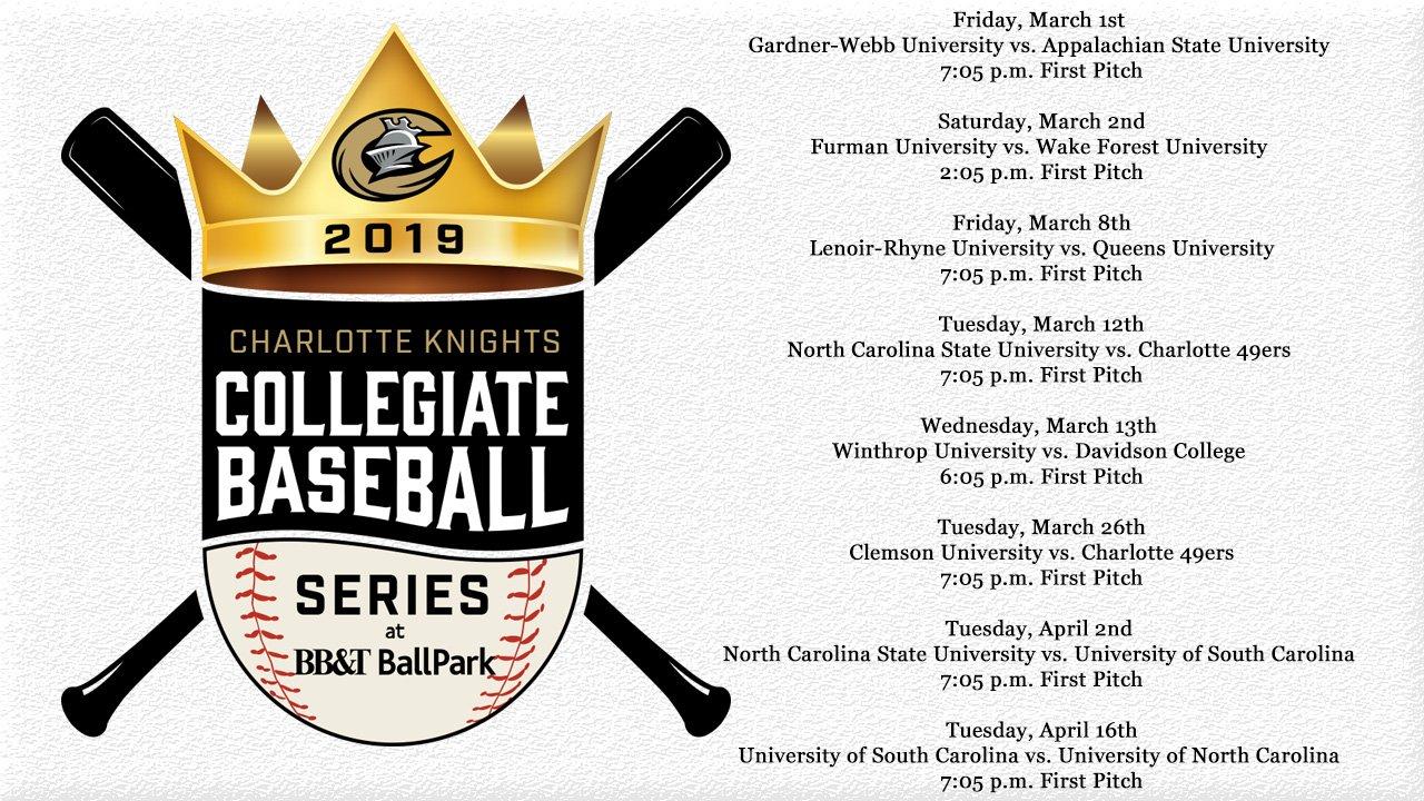 2019 Collegiate Baseball Series Schedule | Charlotte Knights News Bb&t Calendar 2019