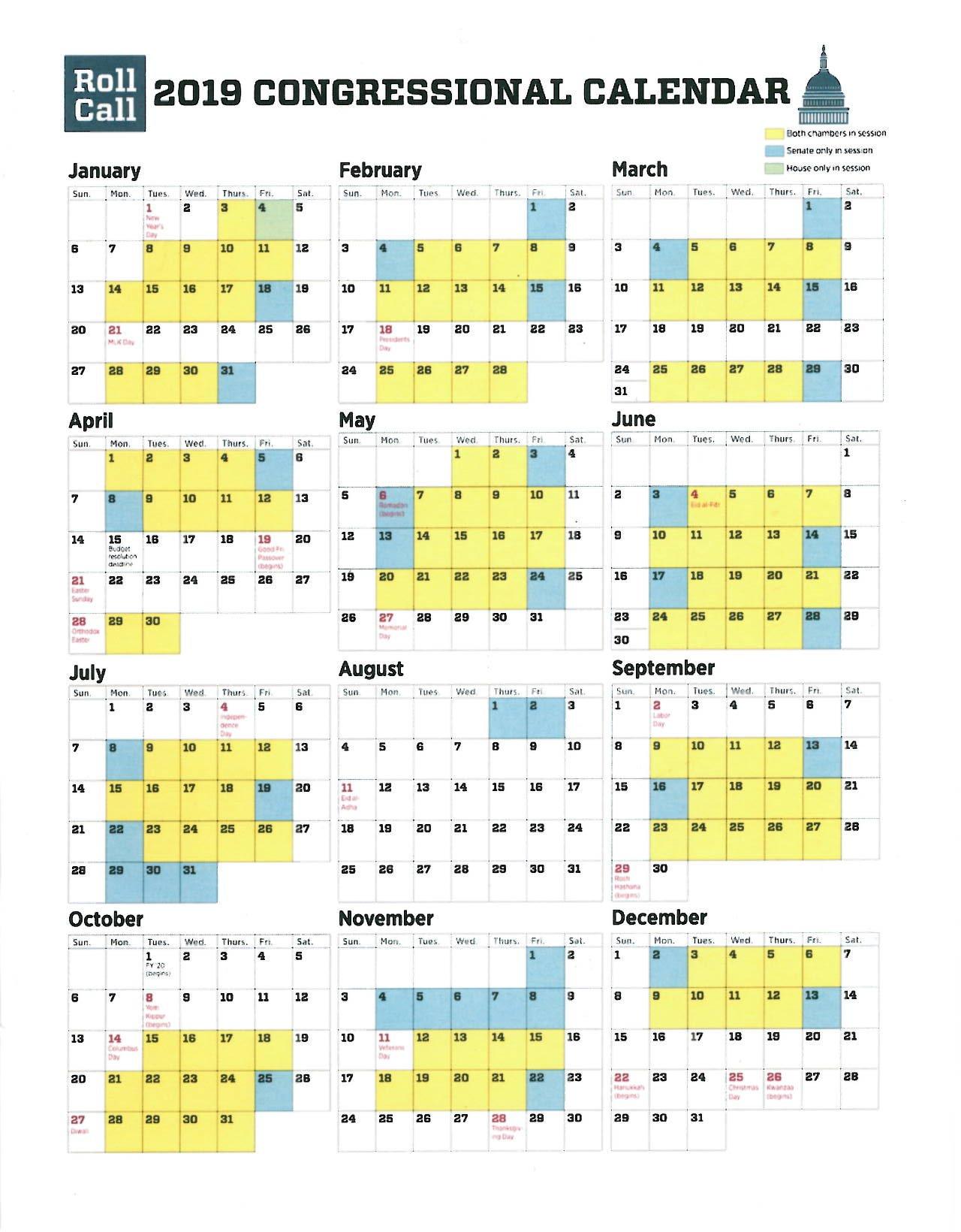 2019 Congressional Calendar – U.s. Senate Press Photographers' Gallery U.s. Senate Calendar 2019
