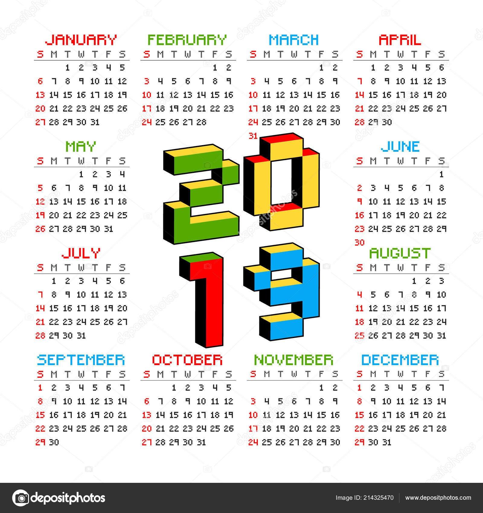 2019 Календарь На Белом Фоне В Стиле Старых 8-Битных Видео Игр Calendar 2019 Video