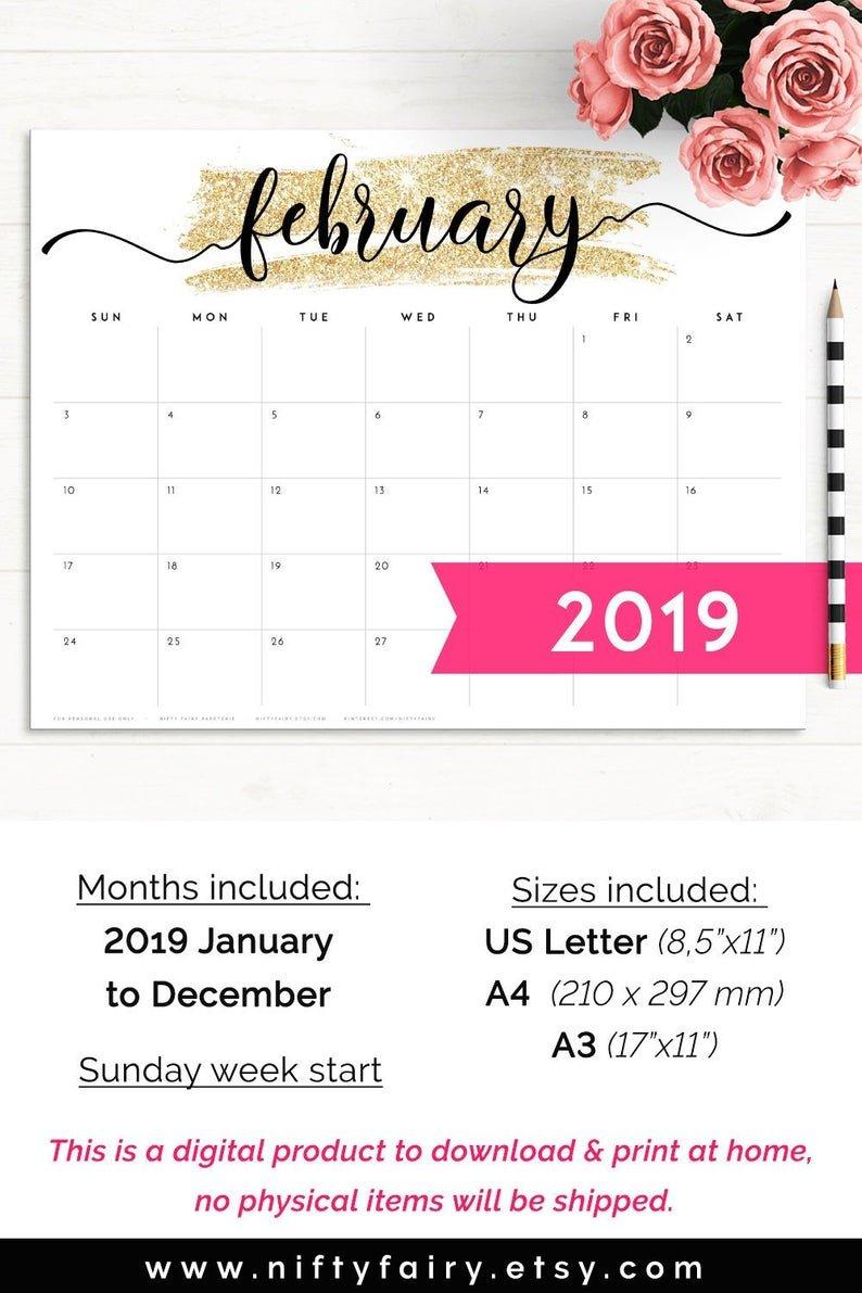 2019 Desk Calendar Monthly Planner 2019 A3 Desk Planner   Etsy Calendar 2019 Officemax
