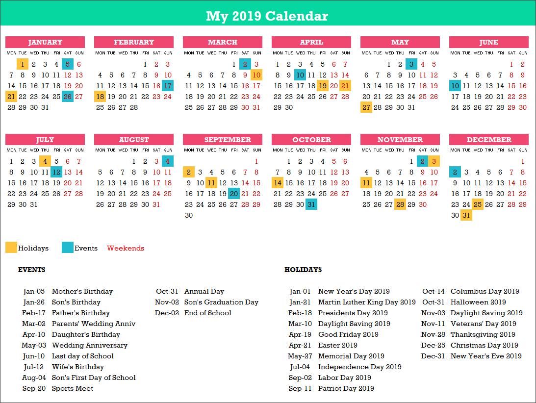 2019 Excel Calendar Template – Free – 19 Calendar Designs Calendar X 2019