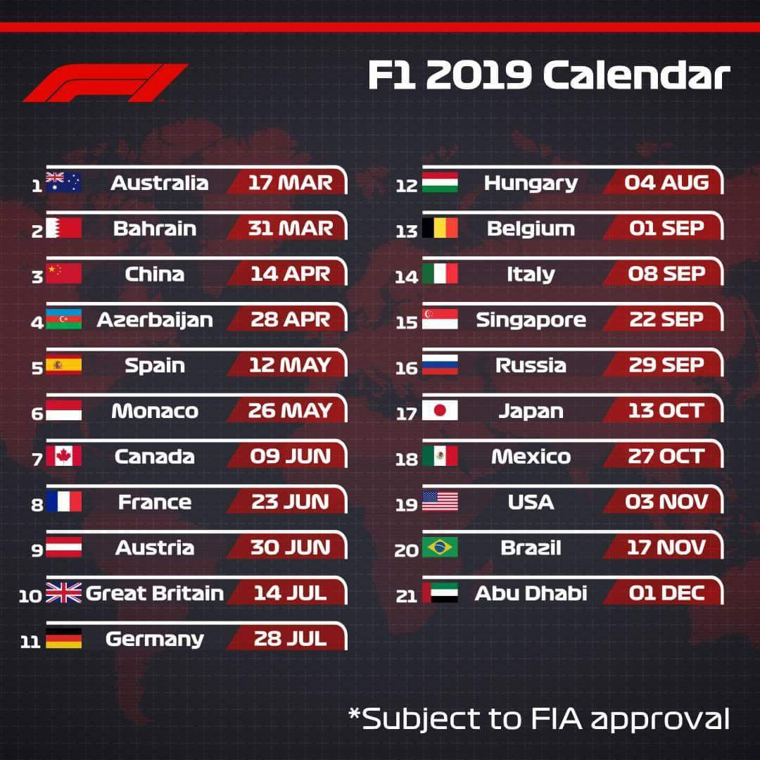 2019 F1 Calendar   Formula 1 Amino Calendar 2019 Formula 1