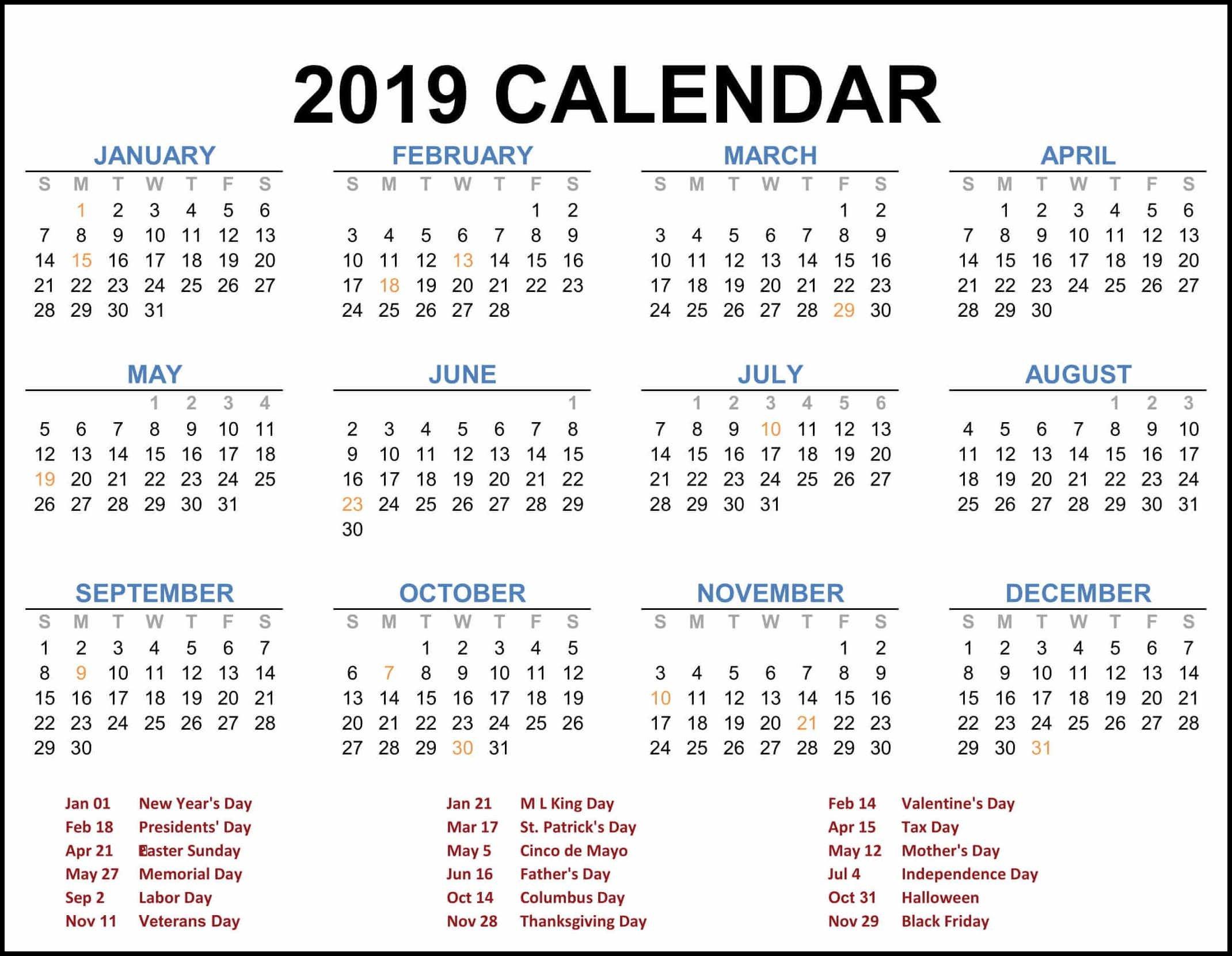 2019 Federal Holiday Calendar   2019 Calendar Template In One Pages Calendar 2019 Federal Holidays