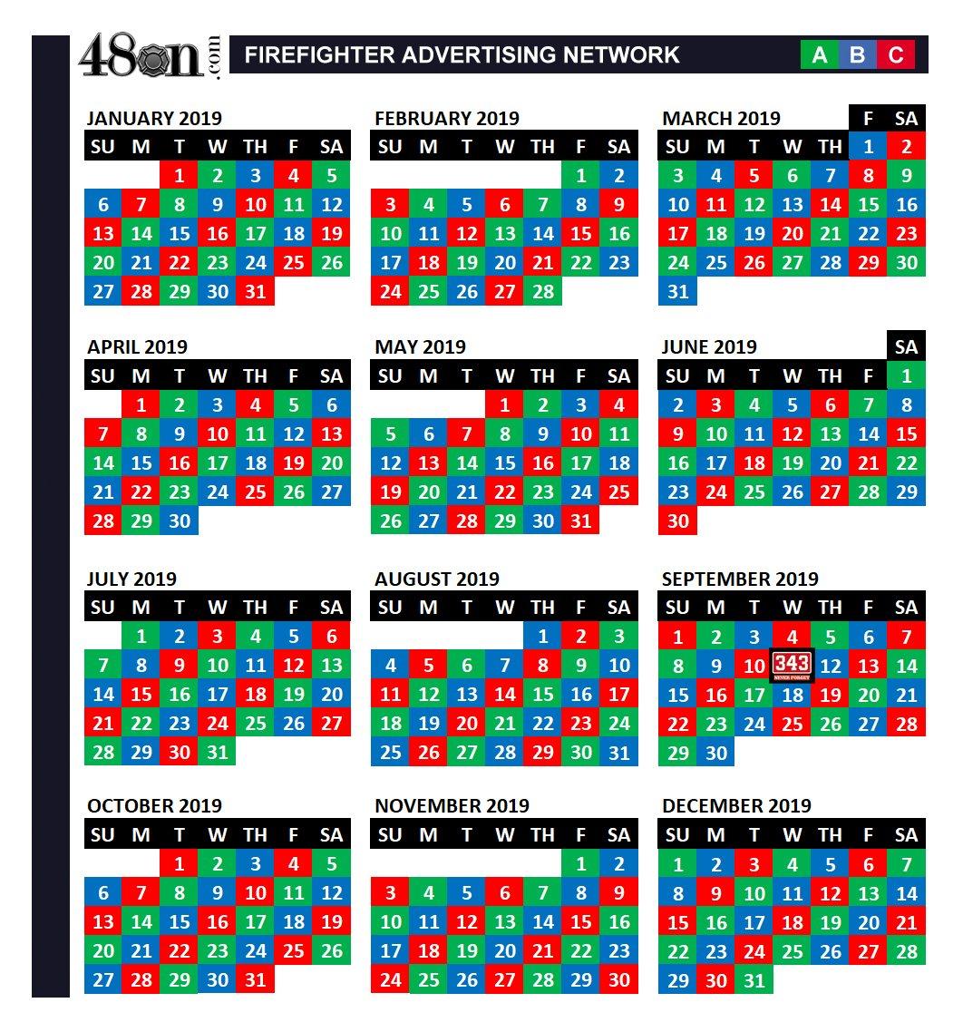 2019 Firefighter Shift Calendar – 48On – 48On B Shift Calendar 2019
