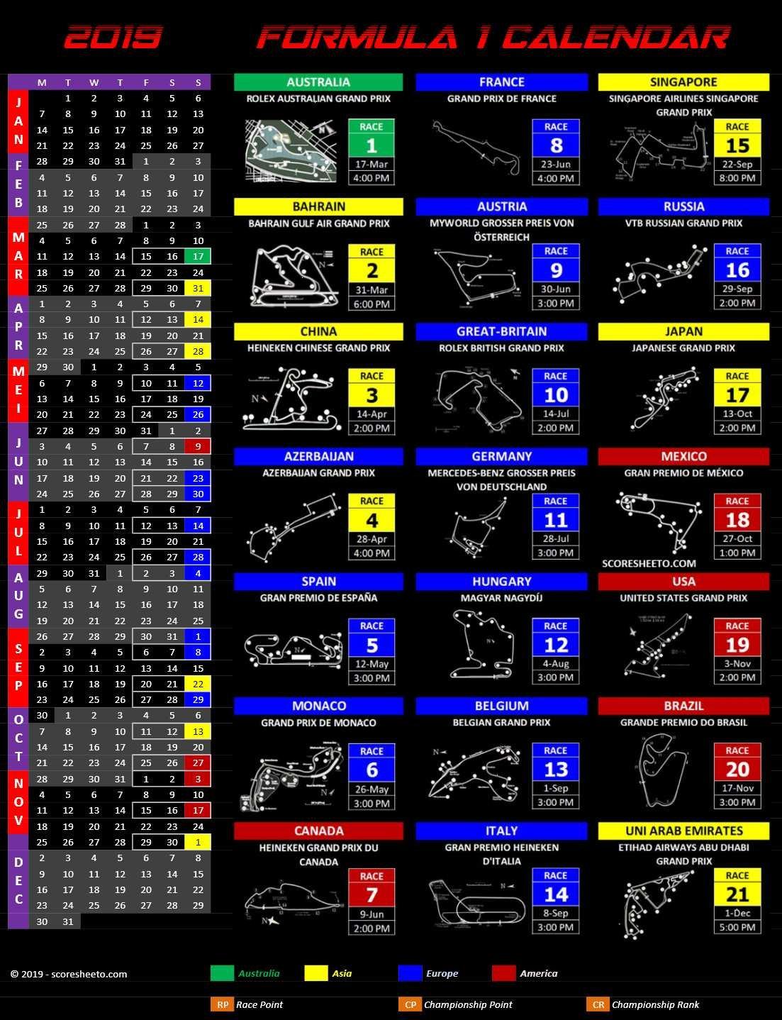 2019 Formula 1 Calendar – Excel Calendars Calendar 2019 Formula 1