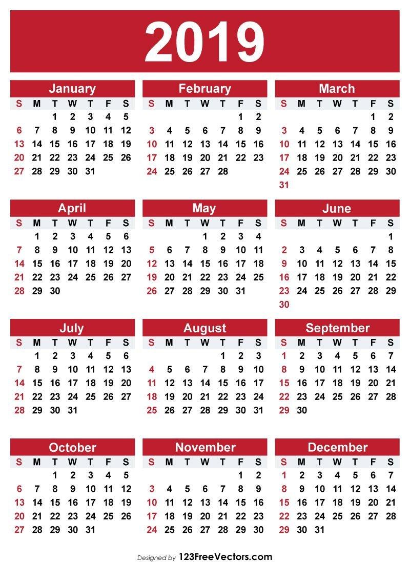 2019 Free Printable Calendar | 2019 Calendar | Free Printable Calendar 2019 Vector Image