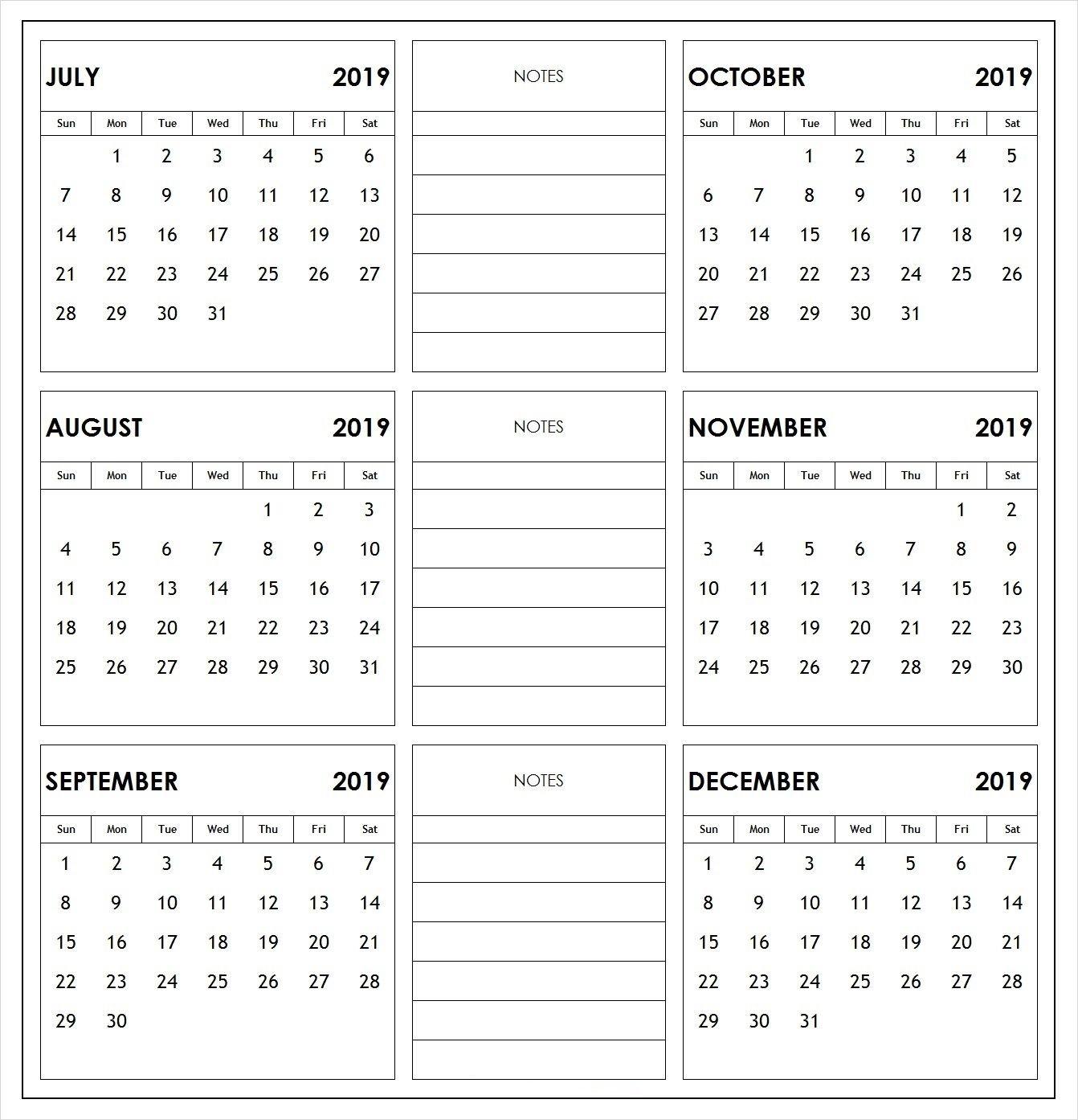 2019 Half Year Print Calendar | 2019 Calendars | Academic Calendar Calendar 2019 6 Months