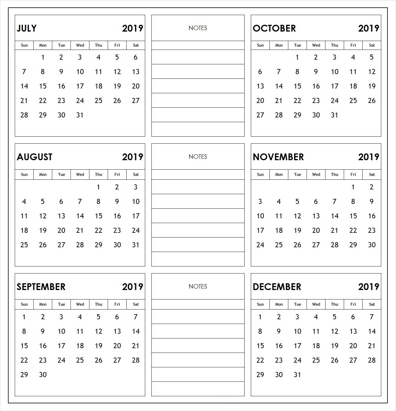 2019 Half Year Print Calendar | 2019 Calendars | Academic Calendar Printable Calendar 2019 6 Months