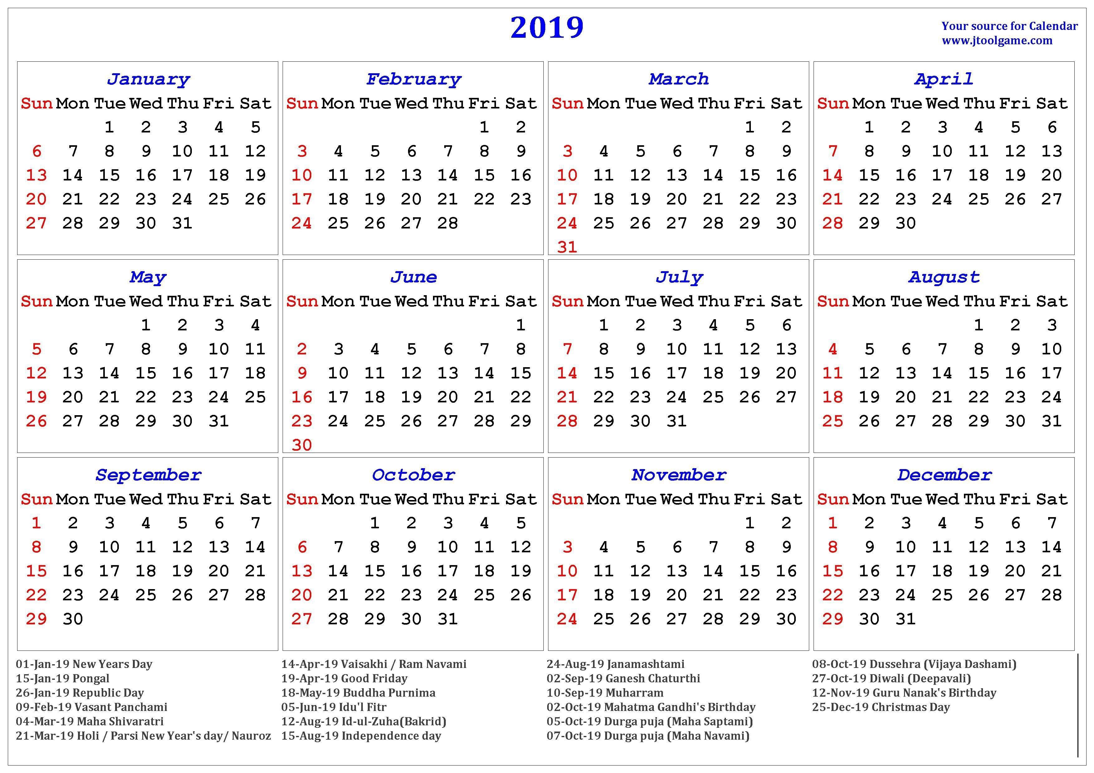 2019 Hindu Calendar With Tithi   Tyohar, Holidays, Festivals Calendar 2019 Hindu