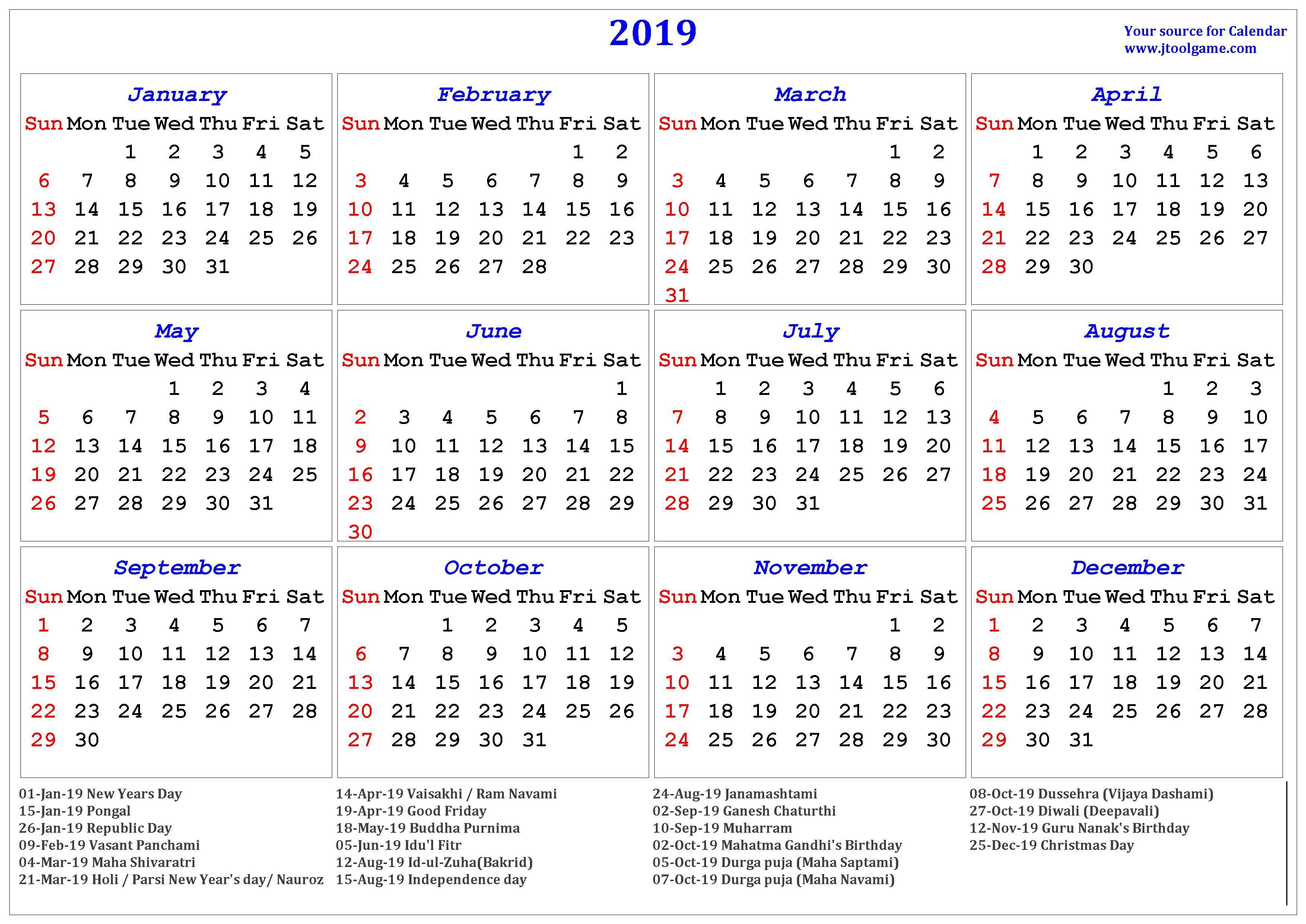 2019 Hindu Calendar With Tithi | Tyohar, Holidays, Festivals Calendar Of 2019 With Hindu Festival