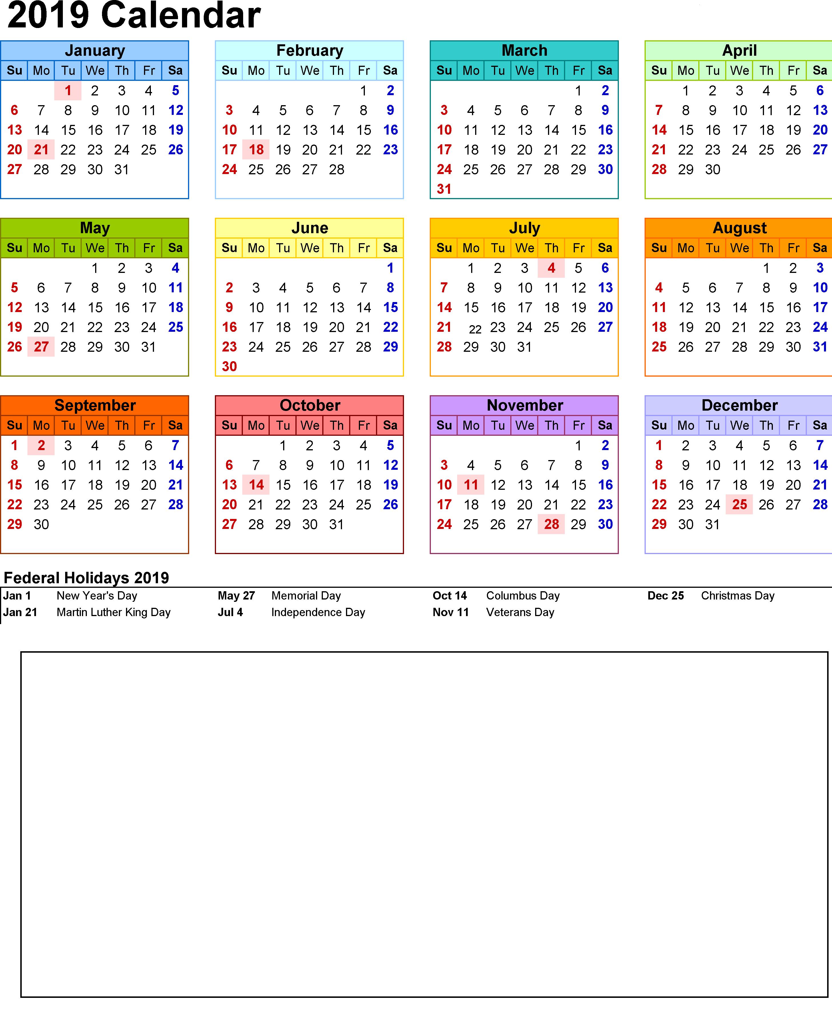 2019 Holiday Calendar   2019 Holiday Calendar In 2019   Federal Calendar 2019 With Federal Holidays