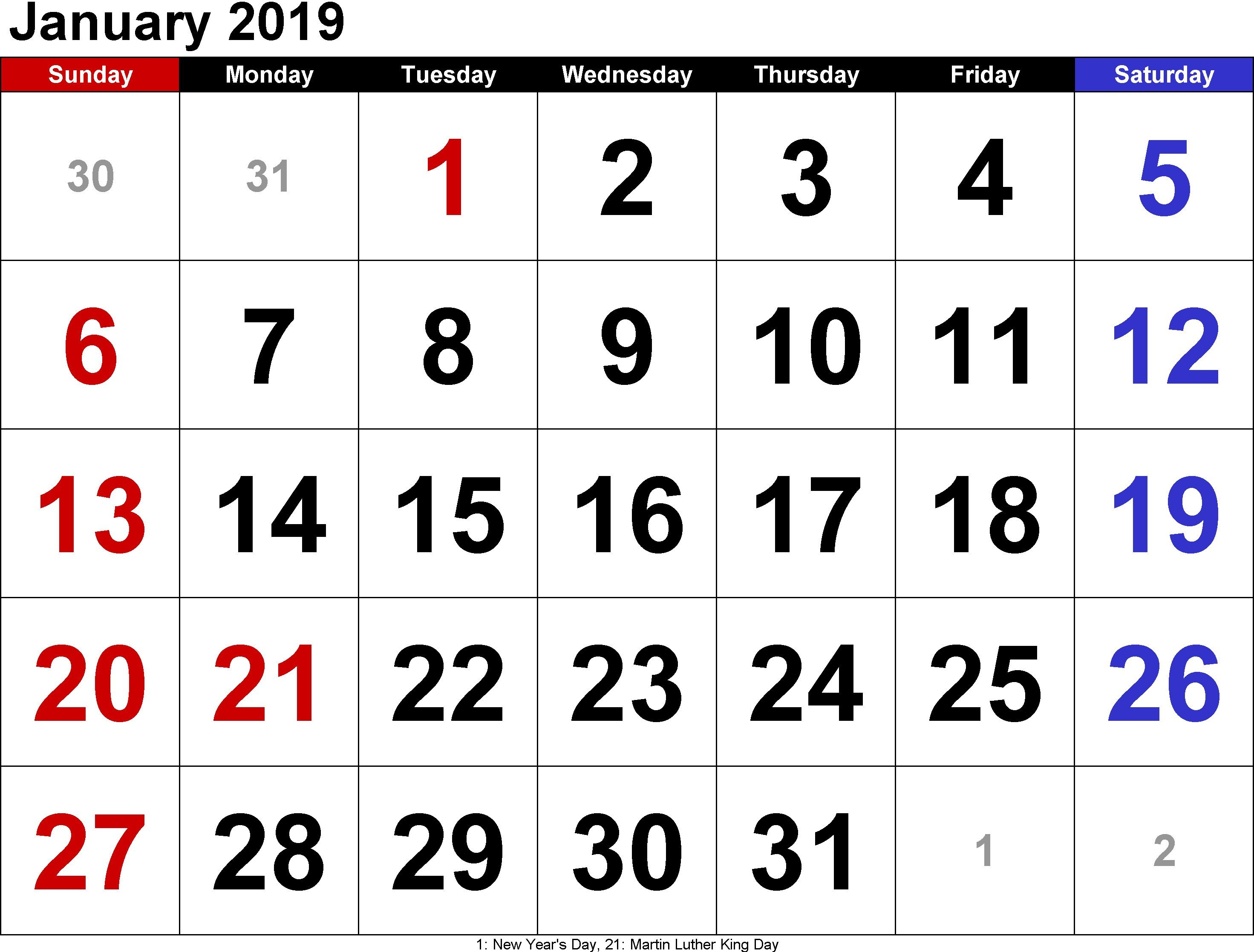 2019 January Calendar With Holidays Archives – Free March 2019 January 6 2019 Calendar
