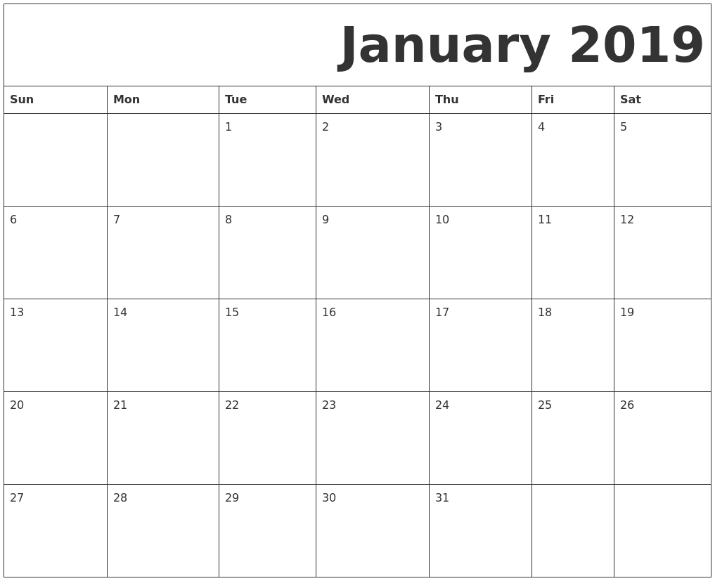 2019 January Printable Calendar Pdf – Free Printable Calendar, Blank Calendar 2019 January Pdf