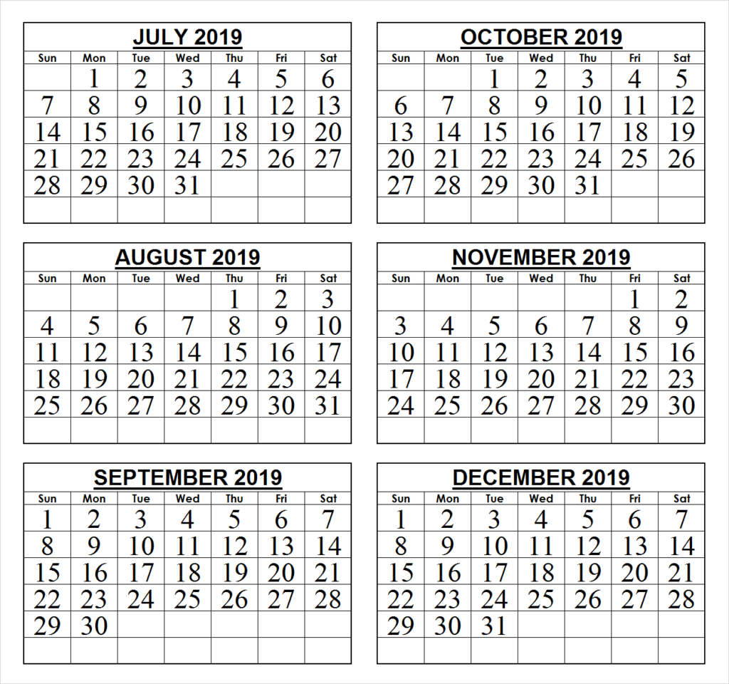 2019 Last 6 Months Calendar   2019 Calendars   Calendar Wallpaper 6 Month Calendar 2019