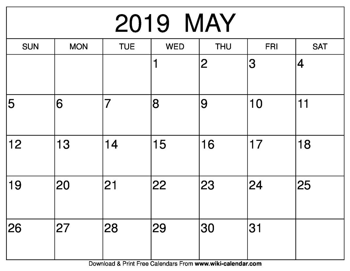 2019 May Calendar – Printable Calendar 2019| Blank Calendar 2019 May 4 2019 Calendar