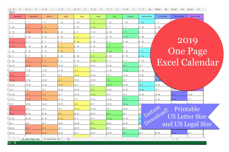 2019 One Page Excel Calendar Printable 2019 Yearly Calendar | Etsy Calendar 2019 Excel Romania