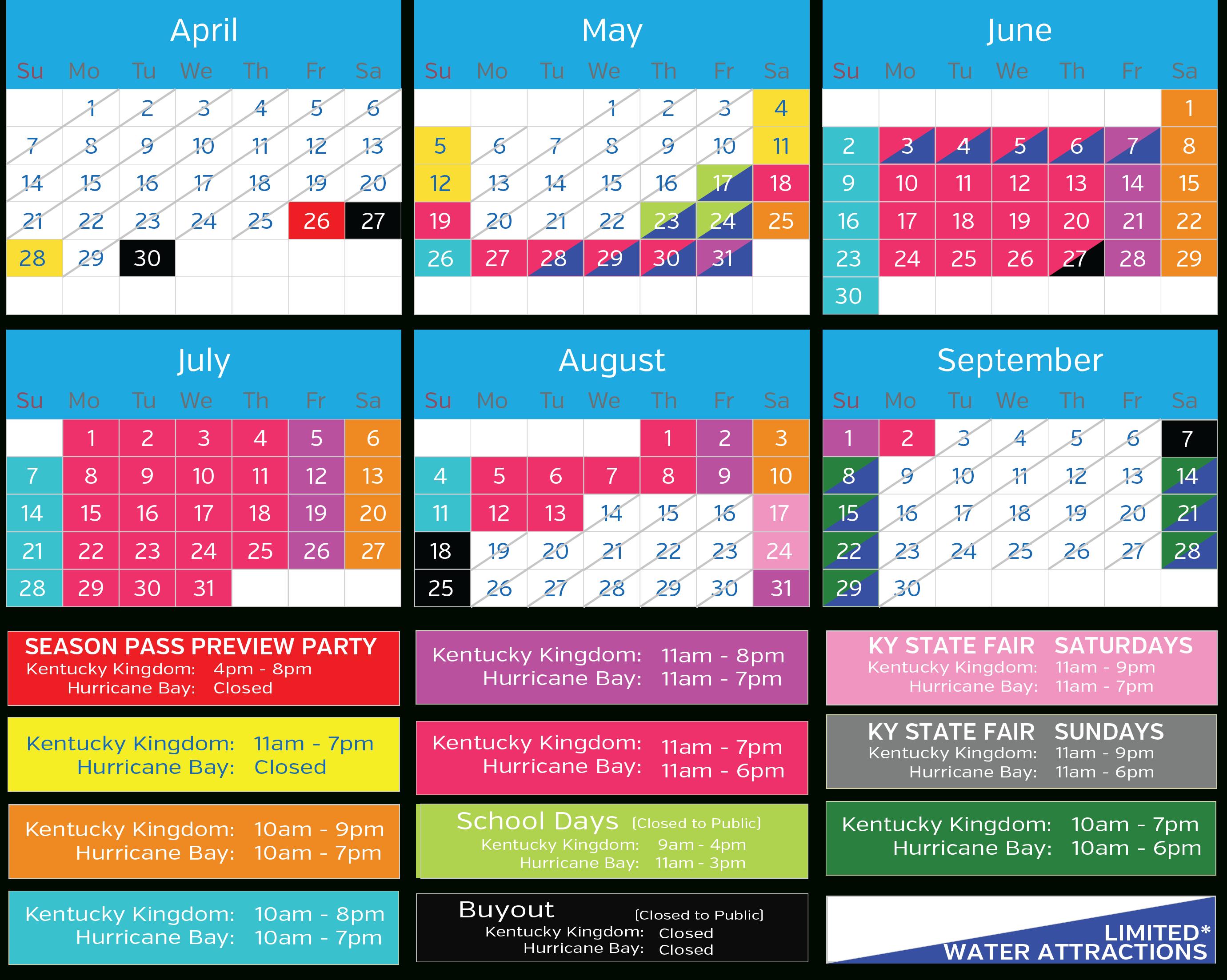 2019 Operating Calendar :: Kentucky Kingdom And Hurricane Bay U Of L Calendar 2019