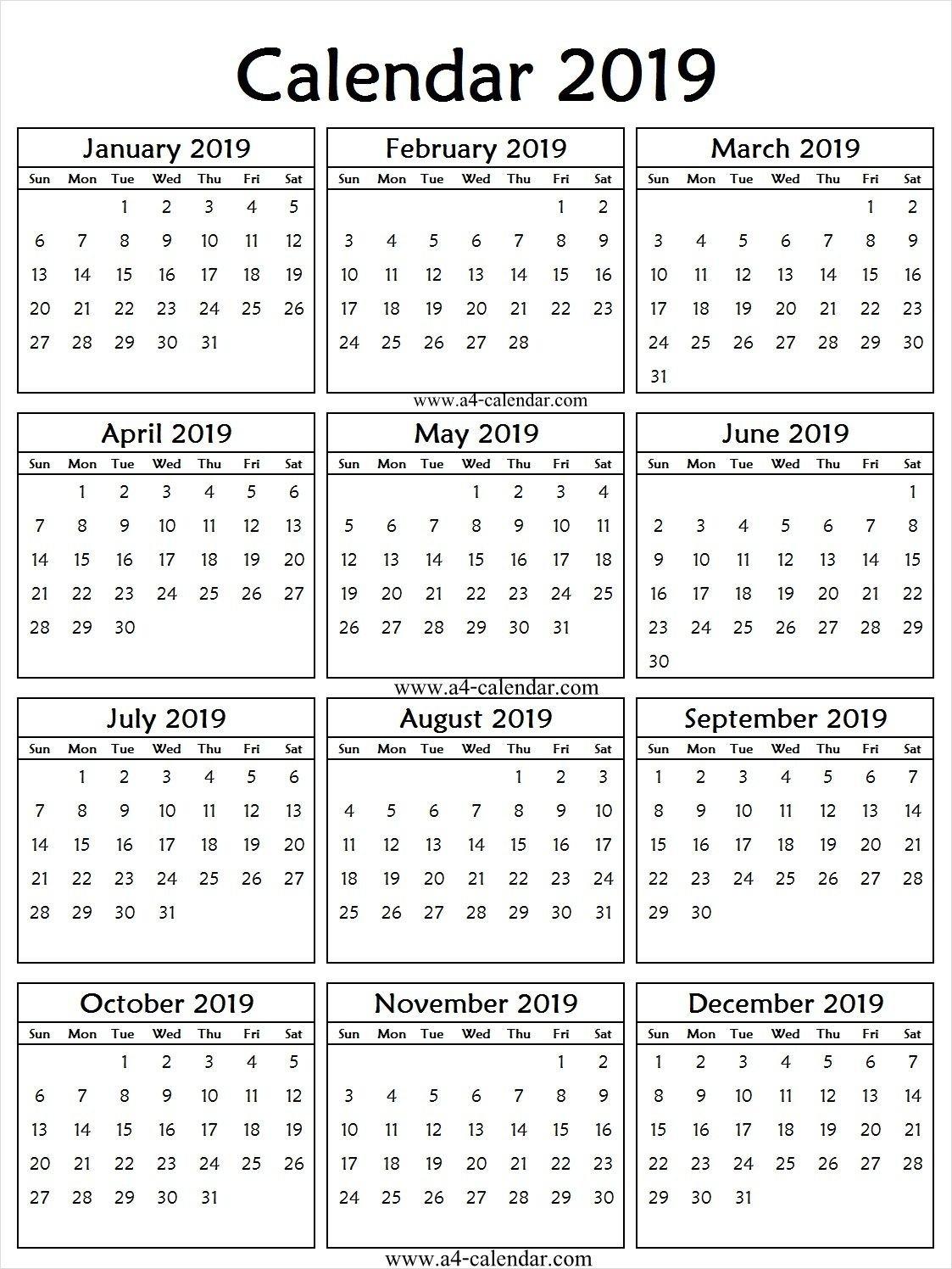 2019 Portrait Calendar Printable | 2019 Calendar Template | Calendar Calendar 2019 Portrait