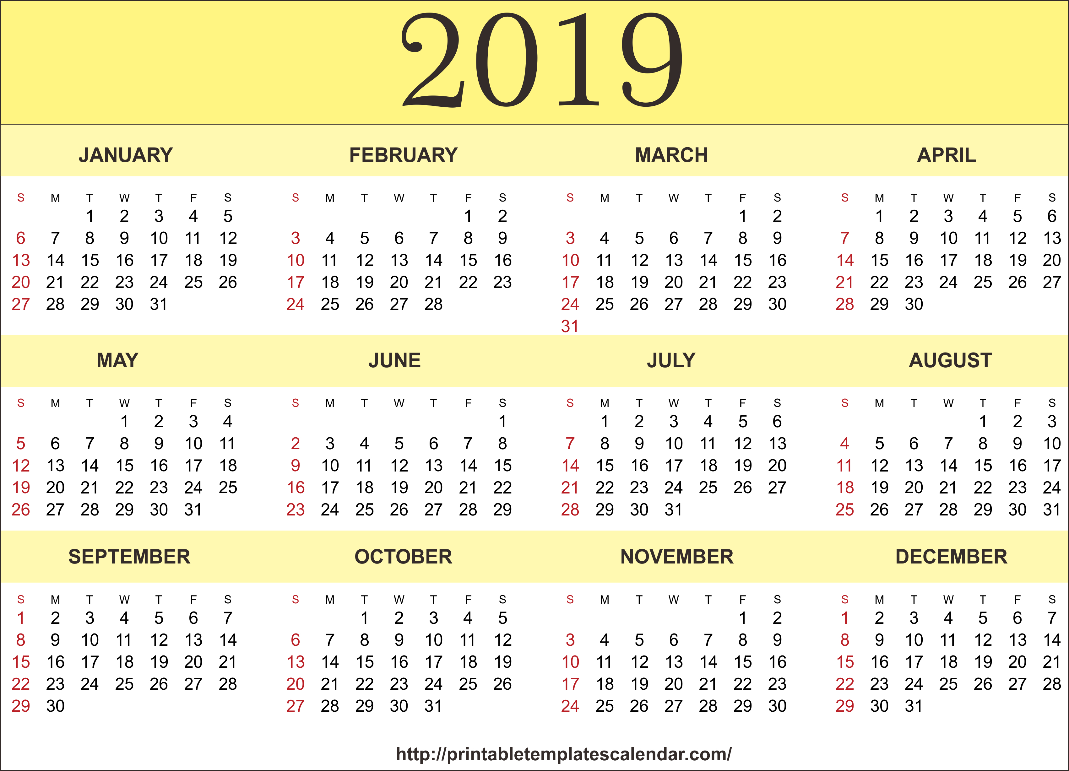 2019 Printable 12 Month One Page Calendar Template Pdf Word Notes Calendar 2019 Year To A Page