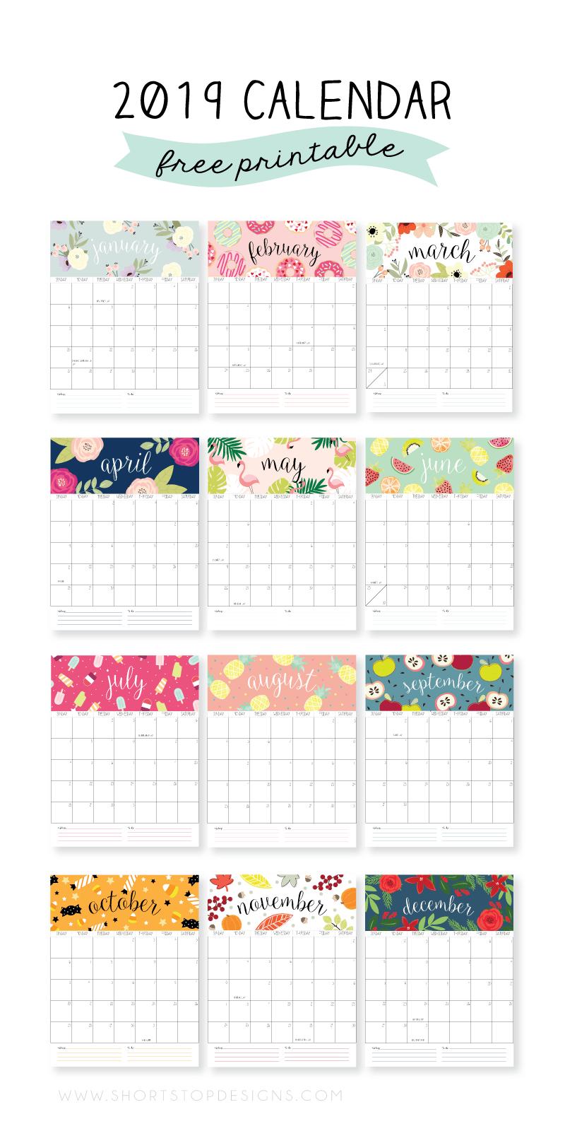 2019 Printable Calendar | Notebook | Calendar 2019 Printable, Free Calendar 2019 Diy