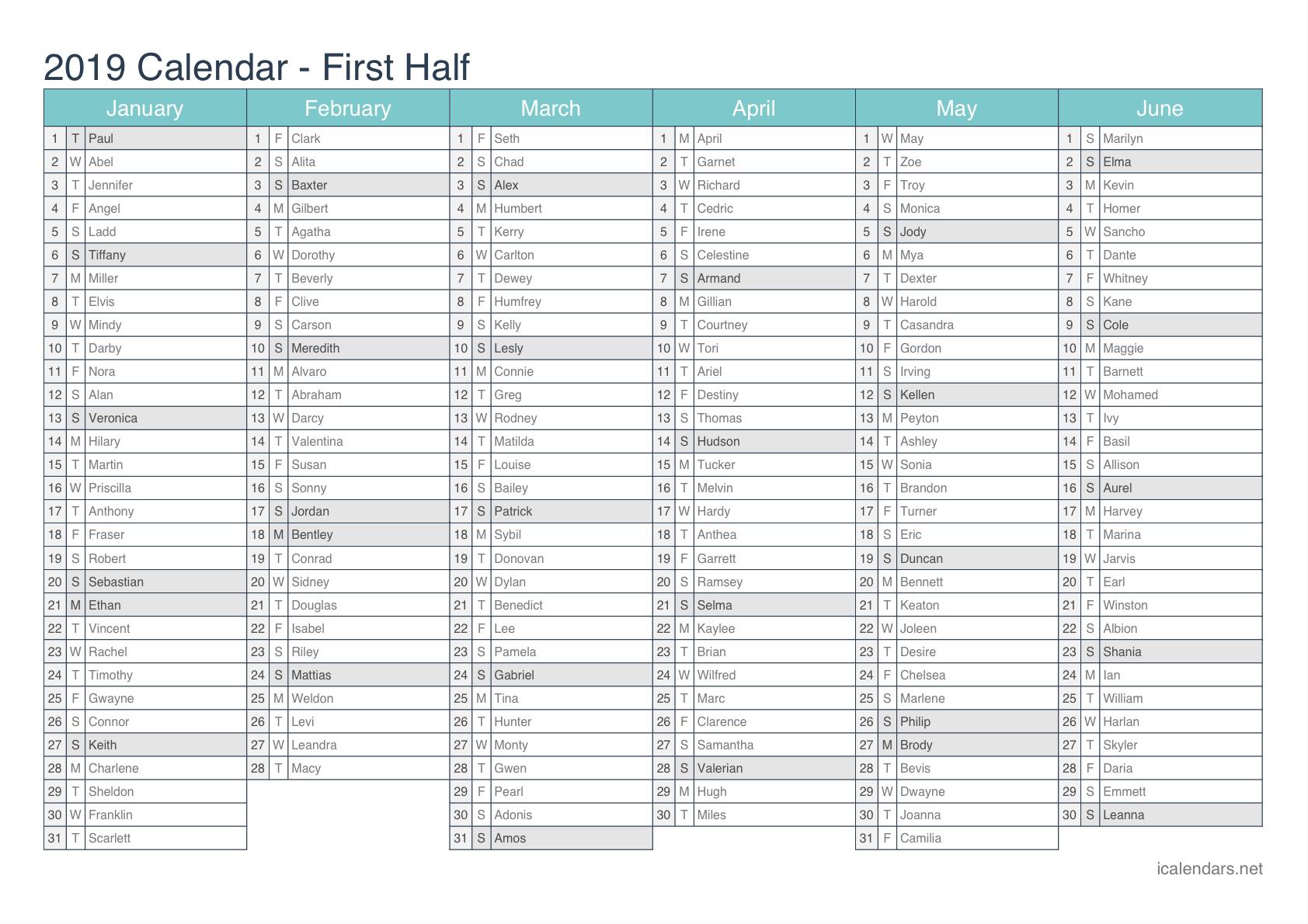 2019 Printable Calendar – Pdf Or Excel – Icalendars Calendar 2019 Excel With Week Numbers