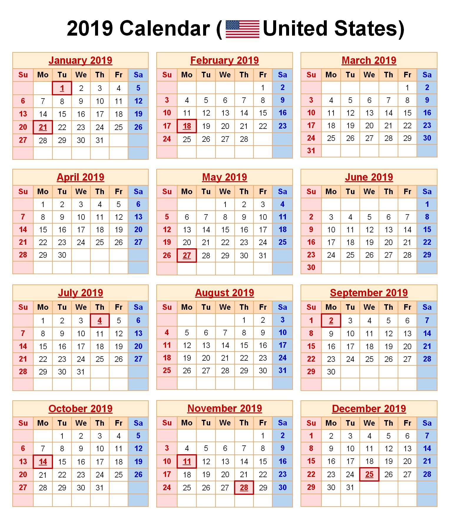 2019 Printable Calendar With Us Holidays Printable Calendar 2019 Calendar 2019 United States
