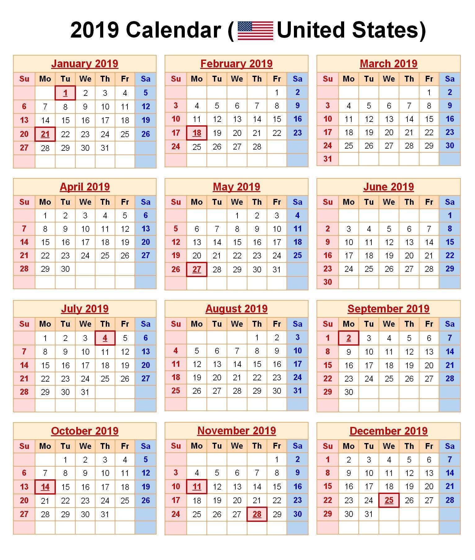 2019 Printable Calendar With Us Holidays Printable Calendar 2019 Calendar 2019 With Holidays Usa Printable