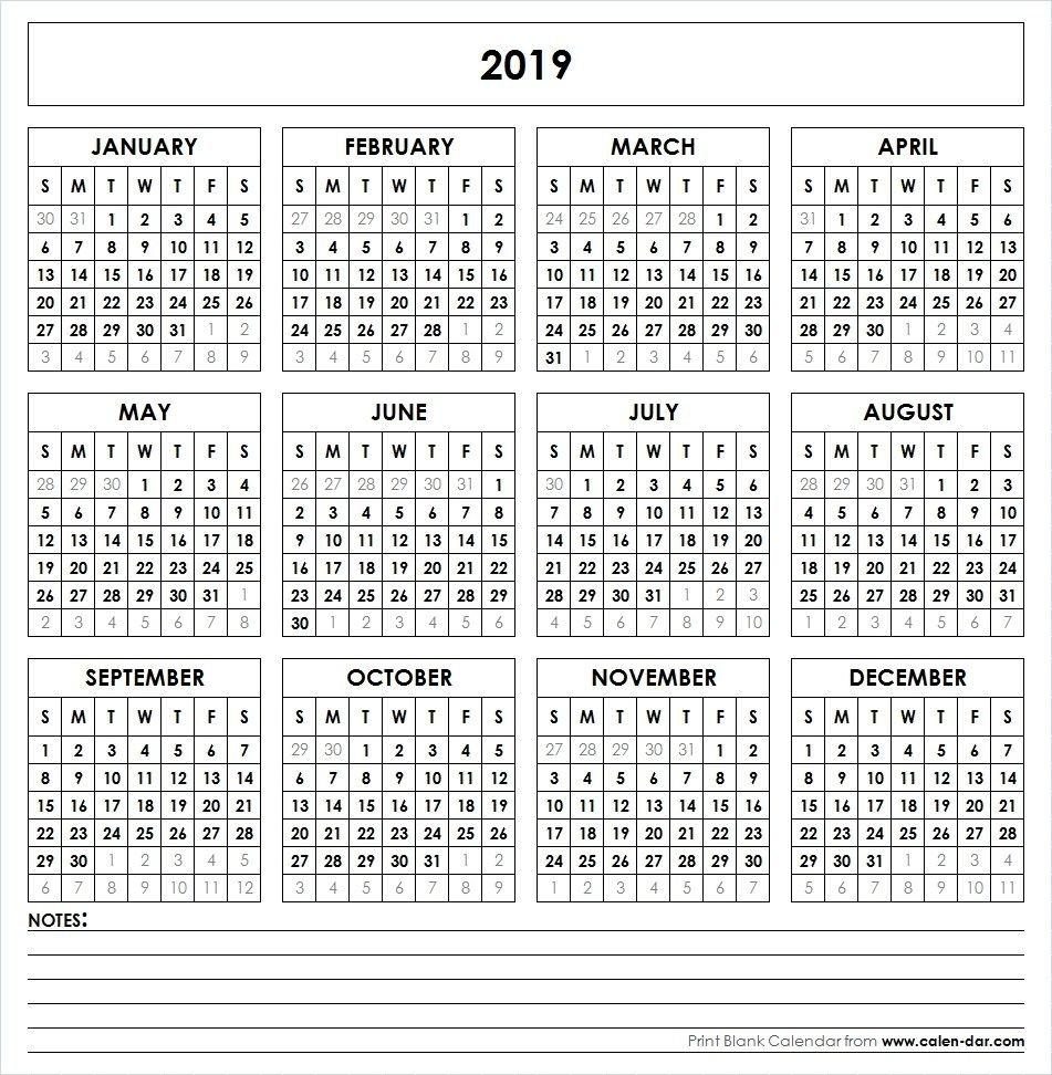 2019 Printable Calendar | Yearly Calendar | Printable Calendar Calendar 2019 Year Printable