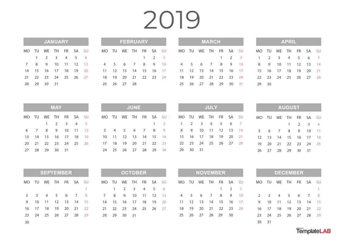 2019 Printable Calendars [Monthly, With Holidays, Yearly] ᐅ Calendar 2019 Year Printable