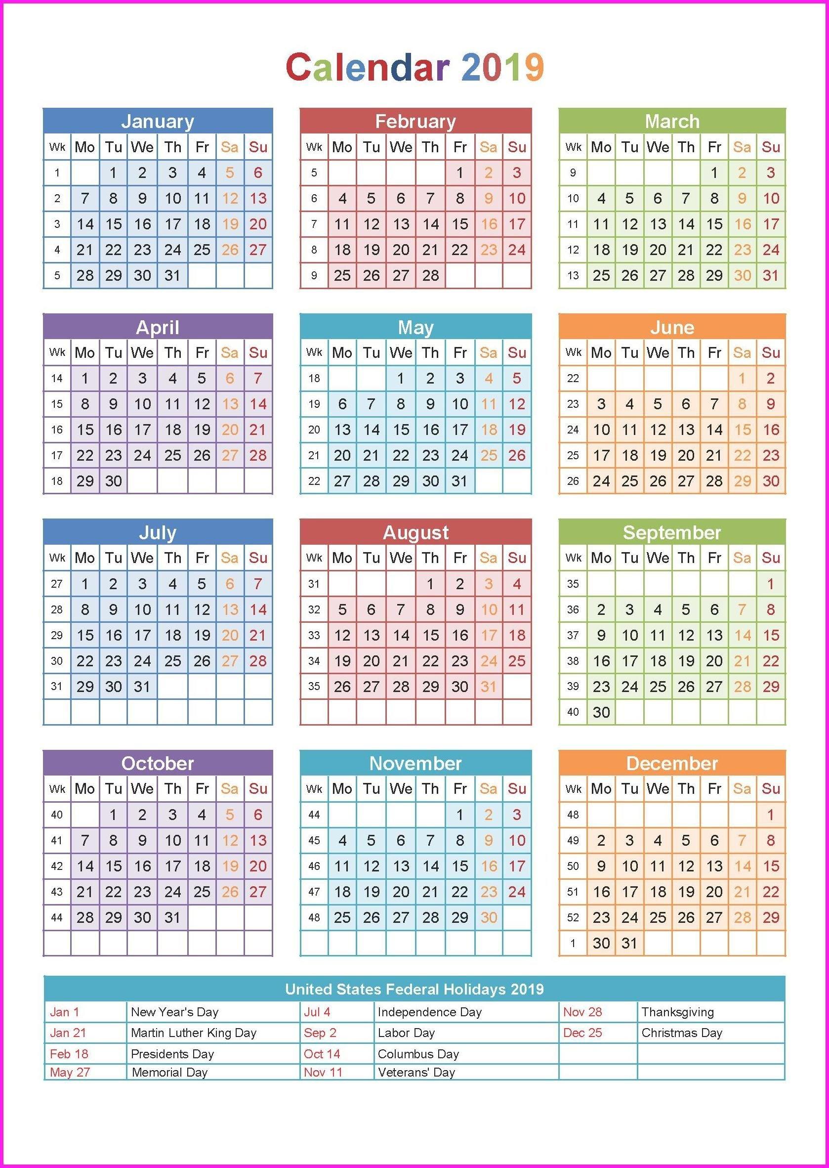 2019 Printable Yearly Calendar | Chjv | Yearly Calendar Template Calendar Of 2019 With Hindu Festival