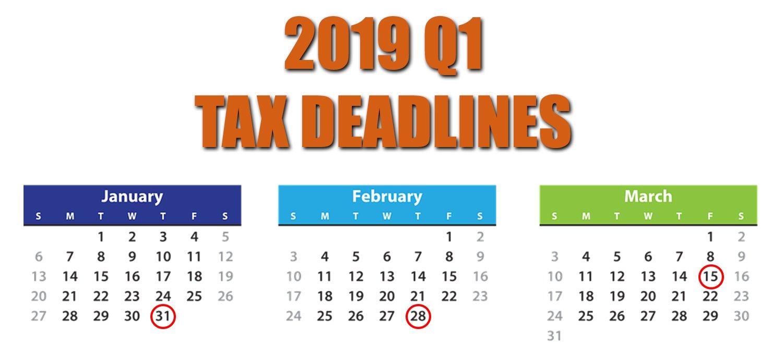 2019 Q1 Tax Calendar – Squar Milner Calendar Q1 2019